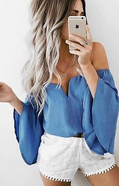 60 Trending And Girly Summer Outfits From Fashionista : Emily Rose Hannon - Girly Outfits, Cute Summer Outfits, Spring Outfits, Fashion Outfits, Womens Fashion, Blue Outfits, Blue Fashion, Casual Summer, Women's Casual