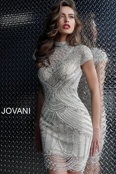 547b7e309f1 jovani Off White Nude Beaded short Sleeve Cocktail Dress 60933 Jovani  Dresses