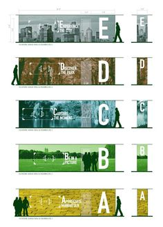 Parking Garage Signage - an experience on each floor, with a specific purpose (Cassie Pettinati) Entrance Signage, Park Signage, Environmental Graphic Design, Environmental Graphics, Web Banner Design, Ideas For Logos, Desgin, Hoarding Design, Vitrine Design