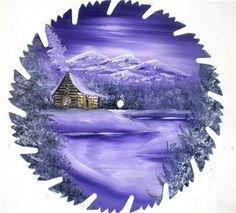 painted saw blades | Hand Painted Saw Blade Art Mountain Log Cabin Lavender Winter Only One ...