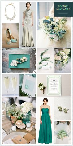 just the colors here, not the dresses: Organic Mint + Jade