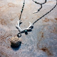 Antler and bone rose necklace by M* Jewelry