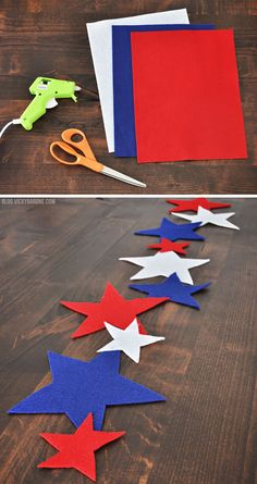 Red White and Blue Felt Star No Sew Table Runner | Vicky Barone