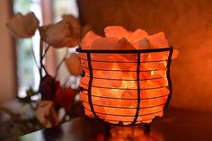 "Amazon.com: HemingWeigh Salt Lamp Natural Himalayan Metal Basket Bowl Lamp 8x7.15"" with Salt Chips, Electric Wire and Bulb Included: Home Improvement"
