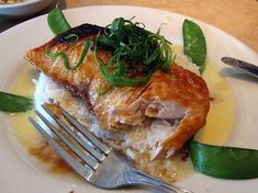 Miso Salmon with Sake Butter-- Cheesecake Factory recipe.  (When I dine there, I ask for broccoli in lieu of the rice...it is heavenly!)