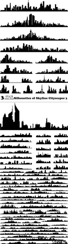 Vectors - Silhouettes of Skyline Cityscapes 3 City Sketch, Skyline Silhouette, Landscape Design Plans, Outline Drawings, City Illustration, Color Of Life, Map Art, Stencil, Sketches