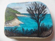 Summer sunshine cliffs - Acrylic miniature painting on Italian sea pottery by ShePaintsSeaglass on Etsy