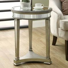 Monarch Specialties 3705 Mirrored Round Accent Table - I 3705 from BEYOND Stores