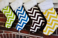 Cute Christmas Stockings by HungByTheChimney made with Half Moon Modern fabrics.