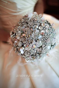 Deposit on a rich rhinestone and blush pink brooch bridal bouquet--made to order wedding bouquet. $325.00, via Etsy.