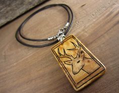 Rustic Deer Hunting Necklace, Woodland Deer Pendant On Leather Necklace, Pyrography Art