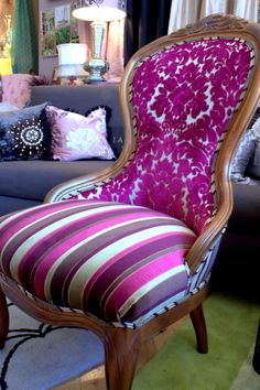 Upholstered Chair Vintage Victorian Chair - many great designs by Jane Hall on this site.