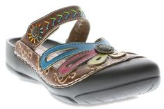 Spring Step Women's Copa Casual Leather Open Back Clog Shoes Brown Multi #SpringStep #Clogs
