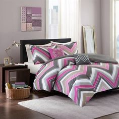 Grey Pink zigzag bedding set - Modern and stylish! Chevron design in two shades of fuschia along with a pop of taupe and grey to update your space instantly. #grey zigzag bedding