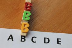 Using textured clothespins for letter recognition