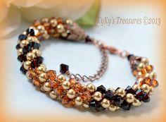 Garnet, Topaz and Almond Swarovski Crystal & Pearl Kumihimo Bracelet w/Copper Findings, Crystal Bracelets, Pearl Bracelets, Topaz Bracelets