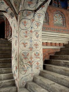 Inside St Basil's Cathedral of Moscow: stairs to the 2nd floor. Wall painting was fully restored in the 19-20th centuries and copied the original of the 16th century in details.