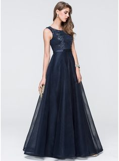 Ball-Gown Scoop Neck Floor-Length Tulle Prom Dress With Lace Beading Sequins (018093875) - JJsHouse