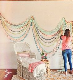 Paper wall decorations.