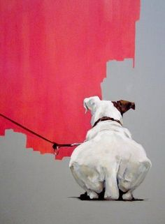 Dede Gold - Thinking Dog - Mixed media on canvas -29 7/8 X 24 1/8 IN- 76 X 61 CMS: