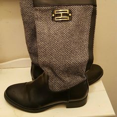 Black tommy hilfiger boots Black boots with black grey stripes design. Zippers to close. Nwt Tommy Hilfiger Shoes Heeled Boots