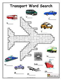 ESL, English vocabulary,Printable worksheets for teaching transport vocabulary