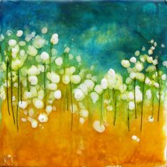 Original Encaustic Abstract Poppy Painting  Beeswax by KLynnsArt