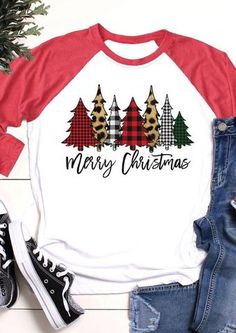 Merry Christmas Plaid Leopard Printed T-Shirt Tee - White - Fairyseason Christmas Tee Shirts, Plaid Christmas, Christmas Sweaters, Merry Christmas, Christmas Outfits, Christmas Trees, Christmas Projects, White Christmas, Christmas Decor