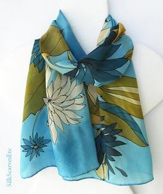 Hand painted silk scarf blue brown scarf by SilkScarvesEtc on Etsy