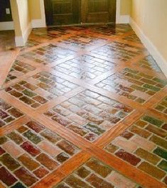 i love this combo of brick and wood inlay Brick Paneling, Brick Flooring, Diy Flooring, Kitchen Flooring, Flooring Ideas, Pine Floors, Thin Brick, Brick And Wood, Deco Champetre
