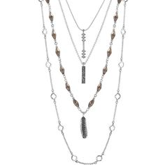 Lucky Brand Gifting Lucky Layers Nested Necklace ($49) ❤ liked on Polyvore featuring jewelry, necklaces, silver, strand necklace, layered necklace, lucky brand necklace, feather pendant and bead necklace