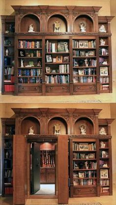 bunkers and secret passages of the wealthy This bookcase built by Creative Home Engineering opens up to reveal a hidden gun vault.This bookcase built by Creative Home Engineering opens up to reveal a hidden gun vault.