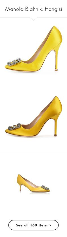 """Manolo Blahnik: Hangisi"" by livnd ❤ liked on Polyvore featuring shoes, pumps, manolo blahnik pumps, satin shoes, yellow shoes, yellow pumps, satin pumps, crystal pumps, buckle shoes and pointed toe high heel pumps"