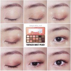 Korean makeup tips! Beauty Advice For Novices And Experts Alike Korean Makeup Tips, Korean Makeup Look, Korean Makeup Tutorials, Asian Eye Makeup, Eyeshadow Tutorials, Eye Makeup Glitter, Makeup Eyeshadow, Hair Makeup, Eyeshadow Palette