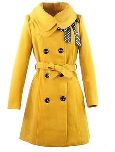 yellow pea coat with neck ribbon