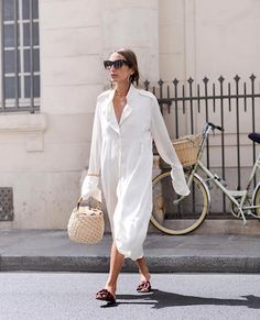 Le Fashion Blog Off White Shirtdress Basket Tote Bag Unique Slides Via @louloudesaison