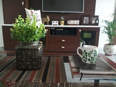 Living room greenery and morning tea. - Home HashTag Life - Living room greenery and morning tea. Home decor livingvroom decor - Indian Living Rooms, Small Living Rooms, Living Room Tv Unit, Living Room Decor, Wall Mounted Shelves, Room Tour, Occasional Chairs, Home Organization, Interior