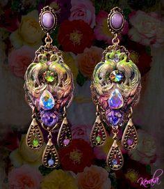 Rainbow Crystal Peacock Earrings- Aurora Borealis, Large, Exotic Earrings, Colorful, Ornate, Chandelier- Bohemian.