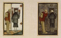 """""""The Peasant and Death and the Gates of Hell"""" by Hugo Simberg two panels. Gates Of Hell, The Crossroads, Dance Of Death, Heaven And Hell, City Of Angels, Grim Reaper, Scandinavian, Symbols, Dark"""