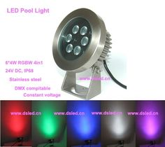 81.00$  Buy now - http://alipte.worldwells.pw/go.php?t=32215335080 - stainless steel,IP68,24W RGBW outdoor LED spotlight,LED projector light,24V DC,DS-10-40-24W-RGBW,DMX compitable,6*4W RGBW 4in1
