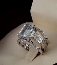 Sensational natural aquamarine and diamond one off vintage ring