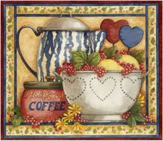 Coffee painting by Diane Knott for Legacy Publishing group calendar, copyrighted
