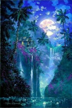 James Coleman - Mystical places - as mentioned before - we dream of these in order to escape & find true meaning & mystery. Some believe that a mystical place can also be a representation of the Higher Self or Godhead trying to get our attention. Beautiful Nature Wallpaper, Beautiful Moon, Beautiful Landscapes, Fantasy Places, Fantasy World, Dream Fantasy, Fantasy Artwork, Fantasy Landscape, Landscape Art