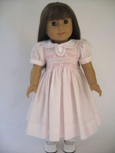 American Girl Doll Clothes Pink Smocked Dress OOAK by MyAngieGirl