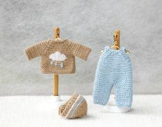 Bebé muñeca boy 4 pulgadas mano punto mono gorro chaqueta.