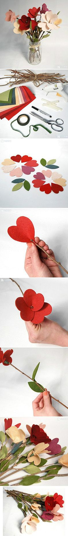 Cute felt flowers! Step-by-step pictures.