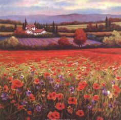 Poppy Pastures I Art Print by T.C. Chiu