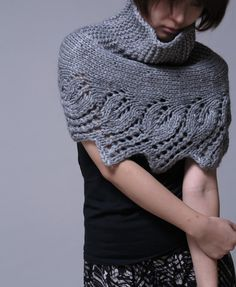 Hand knit capelet poncho and neckwarmer in grey by MaxMelody, $52.00