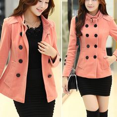 http://amzn.to/1vbGK1H , Fashion Double-breasted Solid Color Stand Collar Woolen Coat #color -  woolen -  #coat