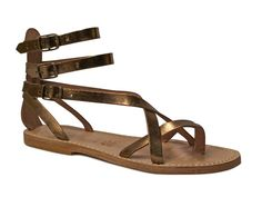 Handmade bronze leather flat gladiator thong sandals - Italian Boutique $70